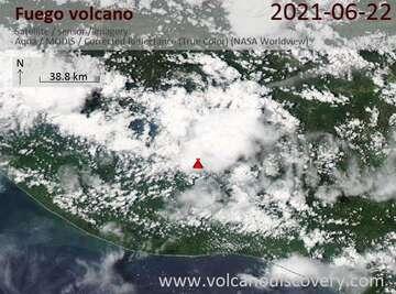 Satellite image of Fuego volcano on 23 Jun 2021