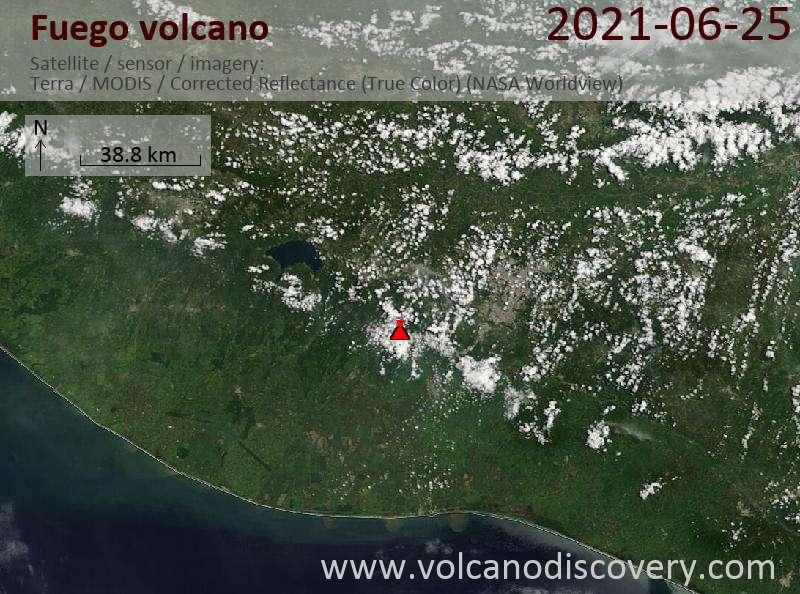 Satellite image of Fuego volcano on 26 Jun 2021