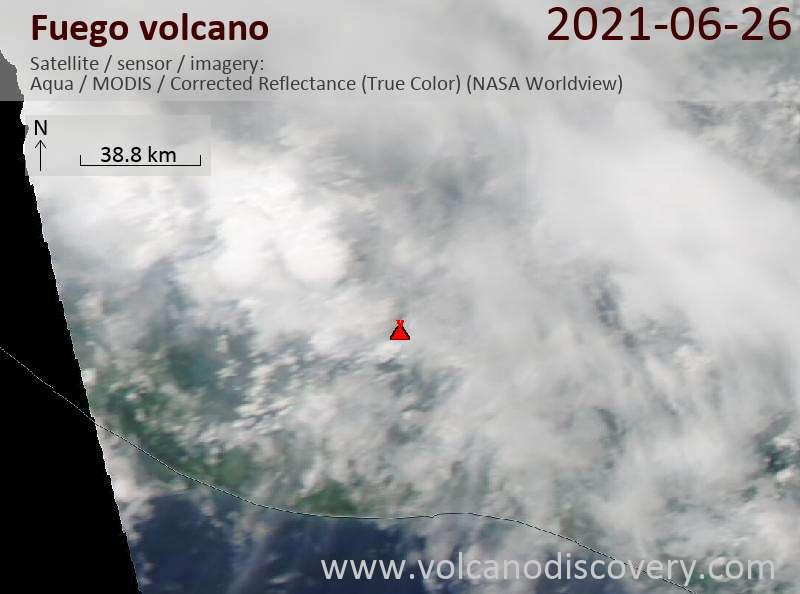 Satellite image of Fuego volcano on 27 Jun 2021