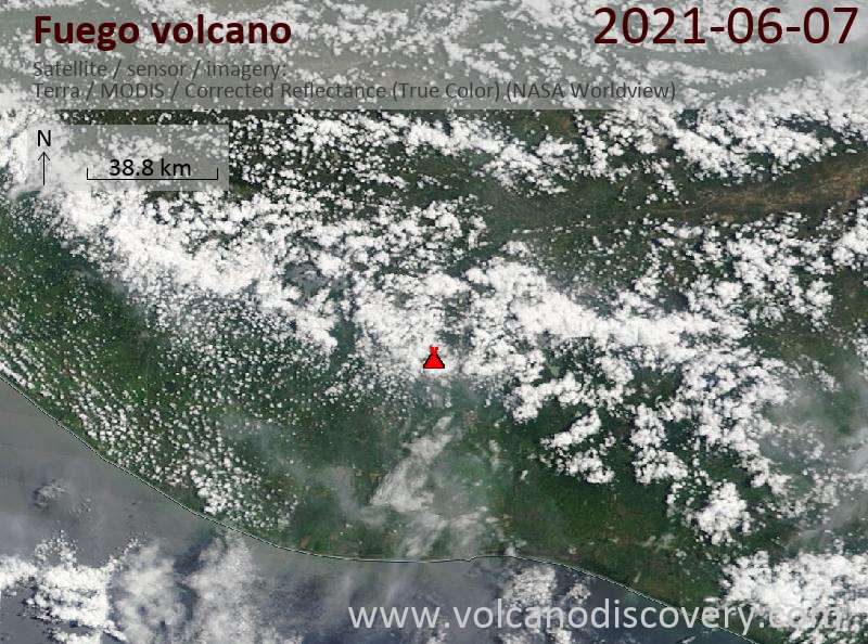 Satellite image of Fuego volcano on  7 Jun 2021