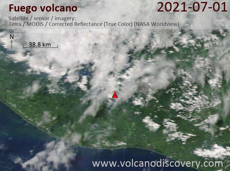 Satellite image of Fuego volcano on  2 Jul 2021