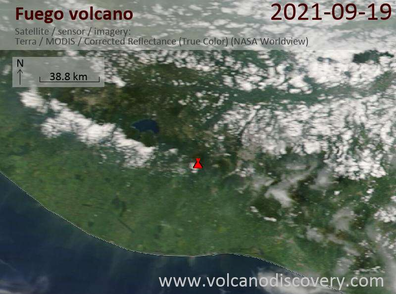 Satellite image of Fuego volcano on 20 Sep 2021