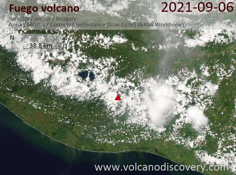 Satellite image of Fuego volcano on  6 Sep 2021