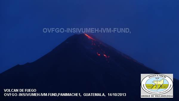 Fuego and the active lava flows this morning