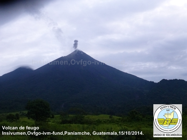 Small eruption at Fuego on 15 Oct (INSIVUMEH)