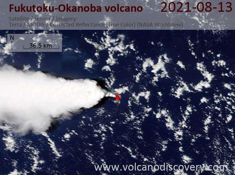 Satellite image of Fukutoku-Okanoba volcano on 14 Aug 2021