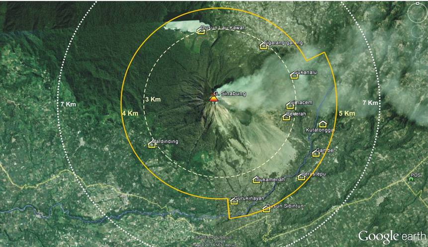 Map of Sinabung with the exclusion zone