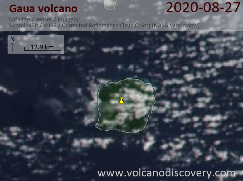 Satellite image of Gaua volcano on 27 Aug 2020