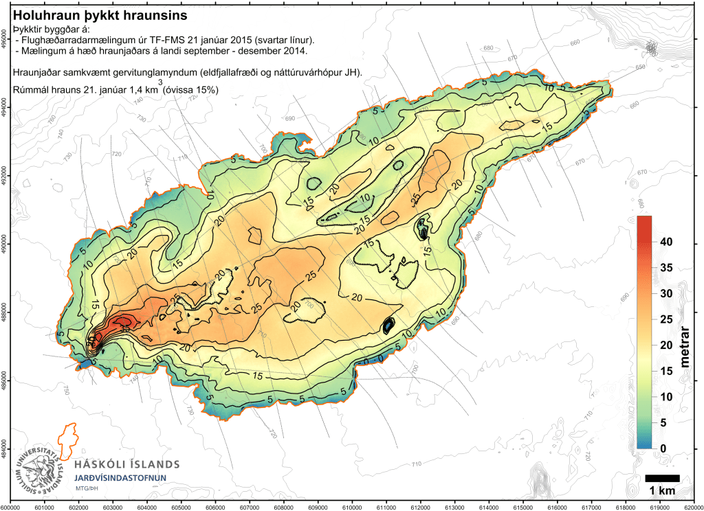 Thickness map of the Holuhraun lava flow field (Scientific Advisory Board)