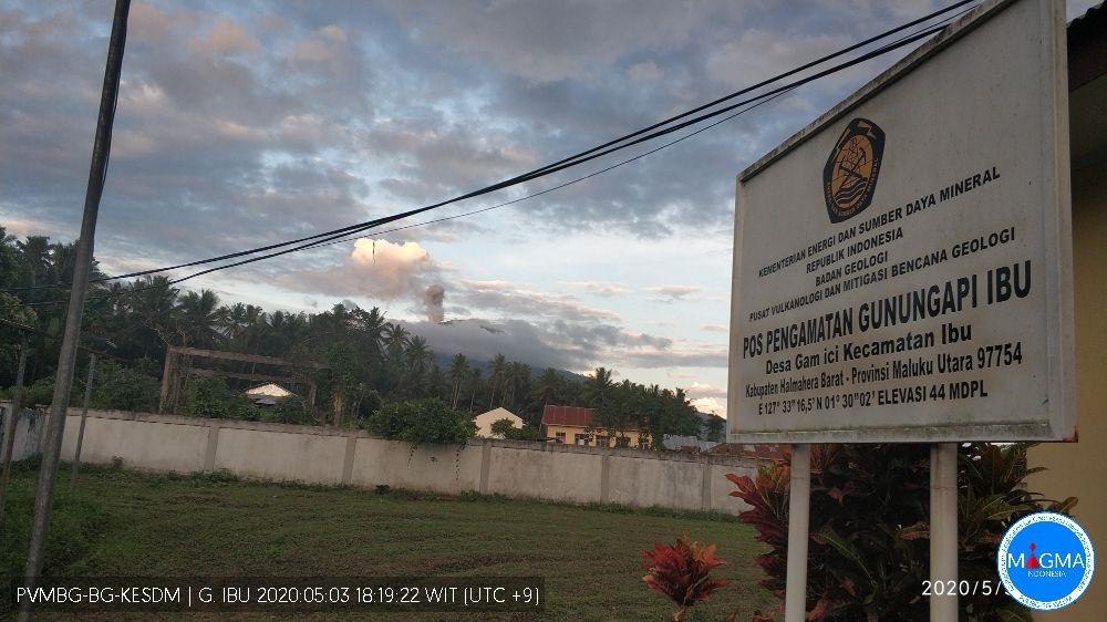 Eruption from Ibu volcano on 3 May (image: PVMBG)