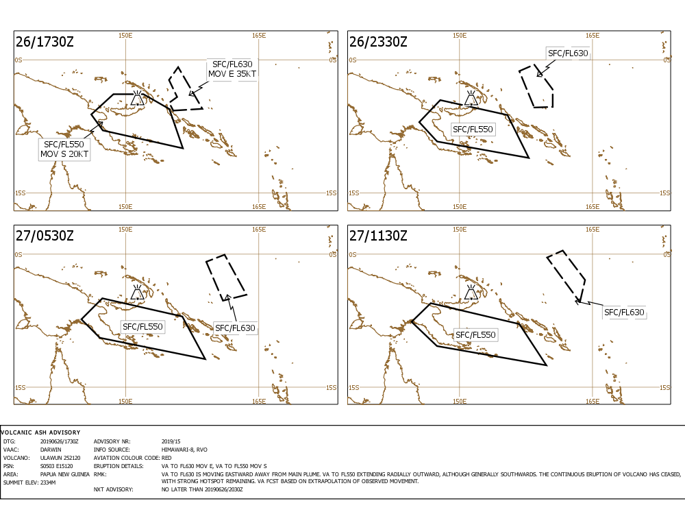 Current ash cloud forecast from the major eruption of Ulawun volcano earlier today (image: VAAC Darwin)