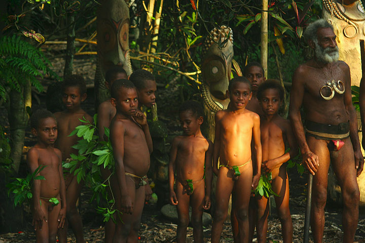 Children in a traditional village on Tanna