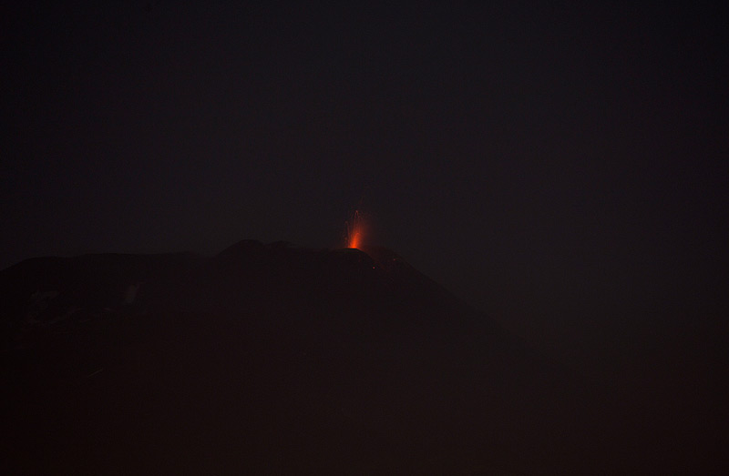 Strombolian activity at Etna's NSEC this evening seen from Catania