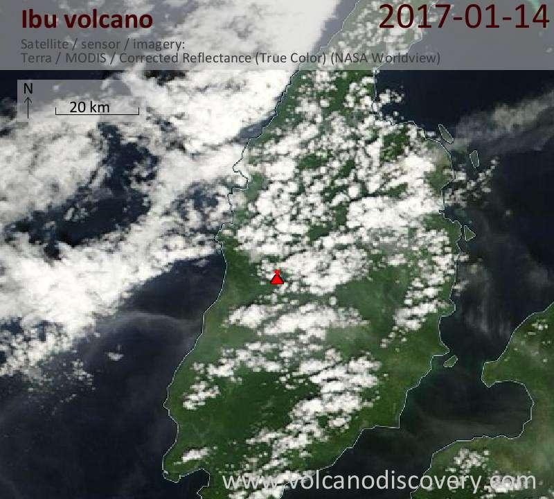 Satellite image of Ibu volcano on 14 Jan 2017