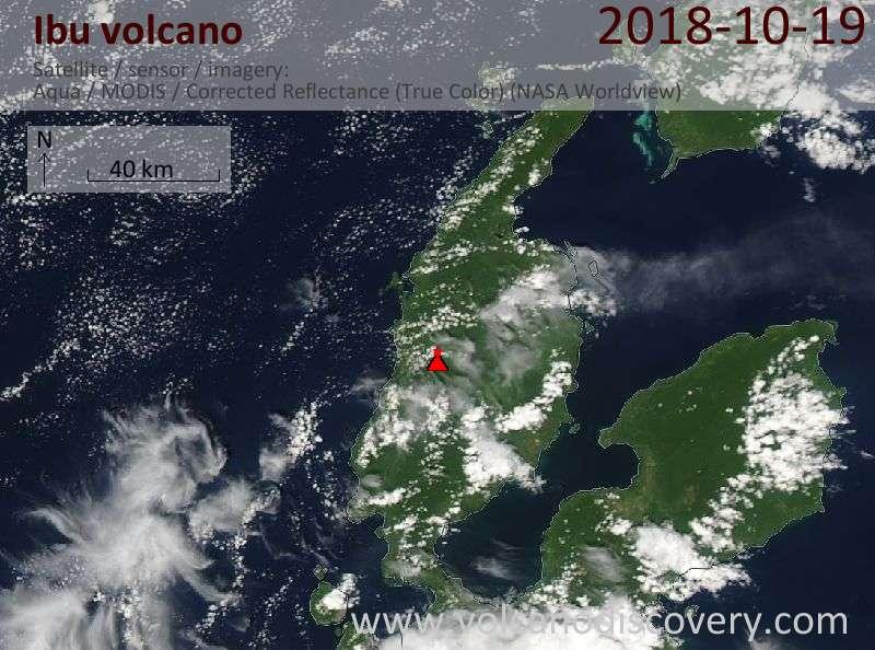 Satellite image of Ibu volcano on 19 Oct 2018