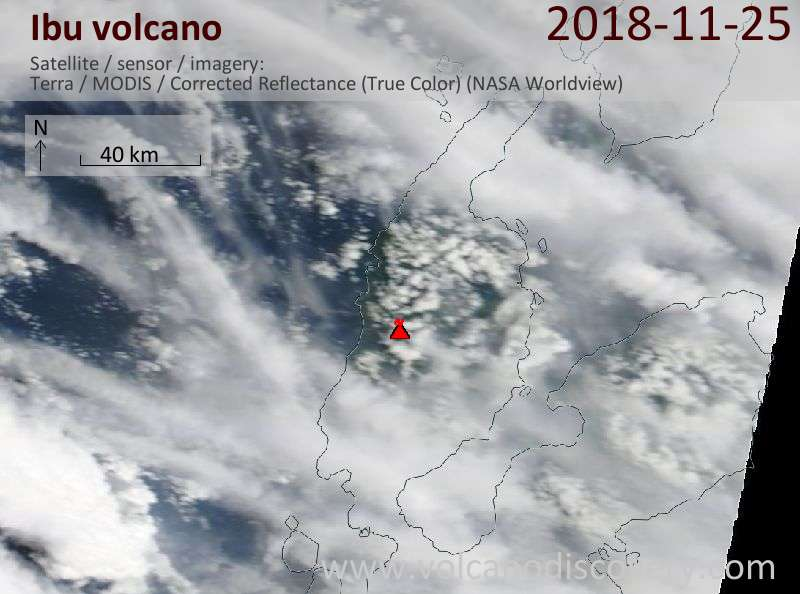 Satellite image of Ibu volcano on 25 Nov 2018