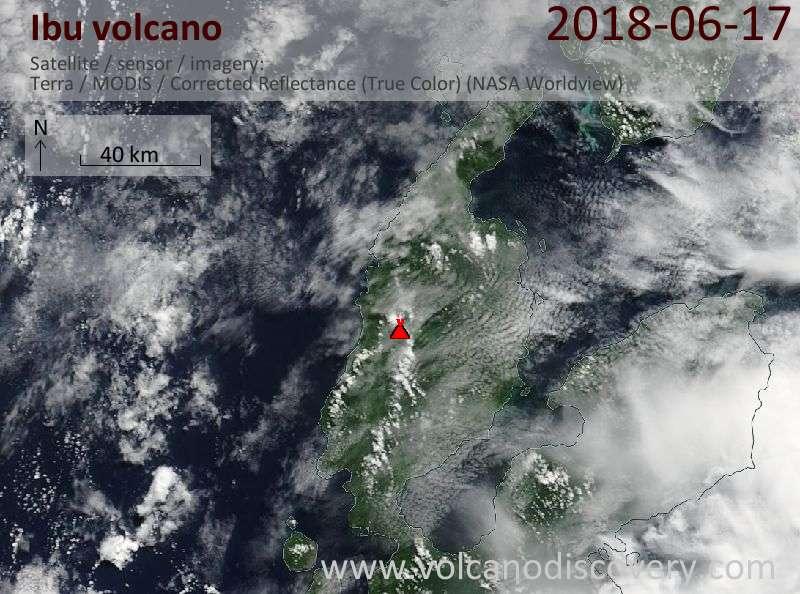 Satellite image of Ibu volcano on 17 Jun 2018