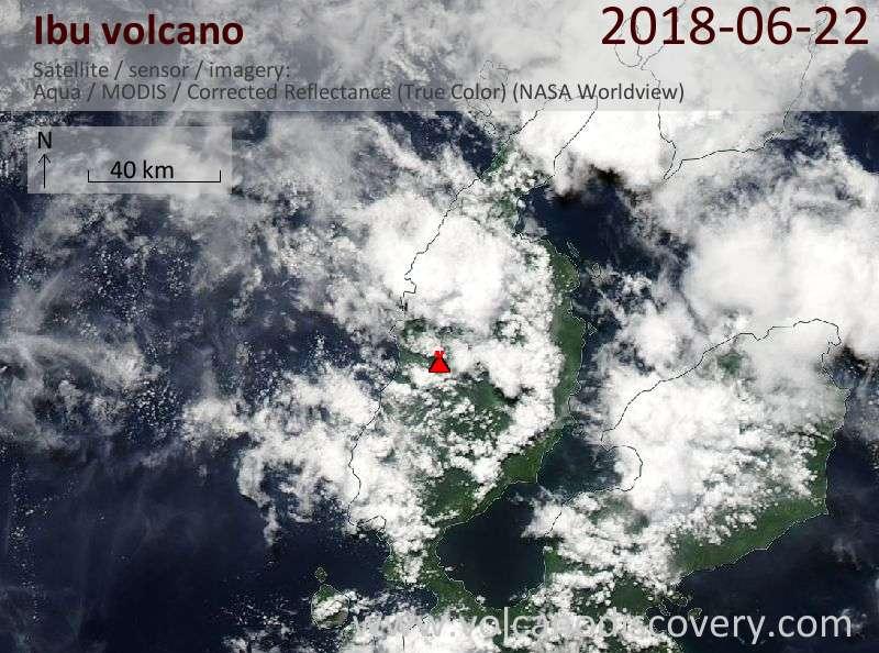 Satellite image of Ibu volcano on 22 Jun 2018