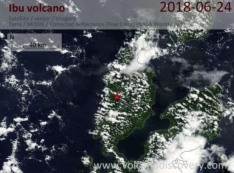 Satellite image of Ibu volcano on 24 Jun 2018