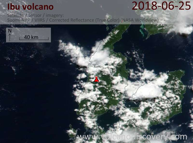 Satellite image of Ibu volcano on 25 Jun 2018