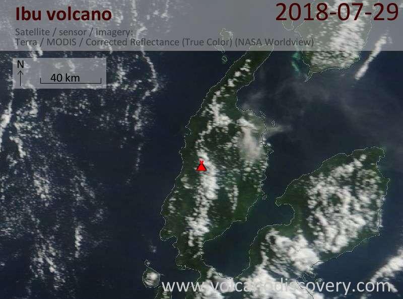Satellite image of Ibu volcano on 28 Jul 2018