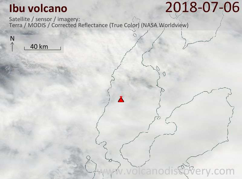 Satellite image of Ibu volcano on  6 Jul 2018