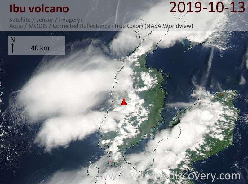 Satellite image of Ibu volcano on 13 Oct 2019
