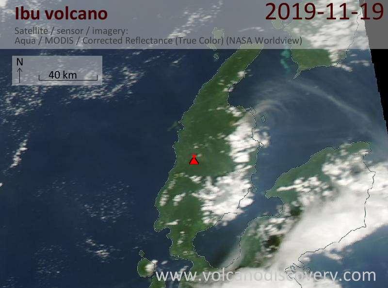 Satellite image of Ibu volcano on 19 Nov 2019