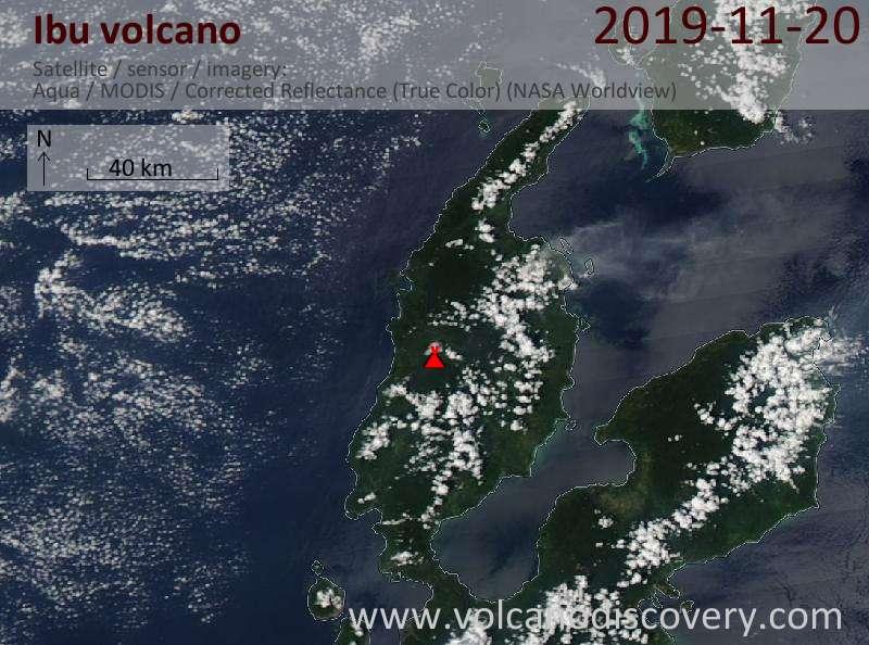 Satellite image of Ibu volcano on 20 Nov 2019