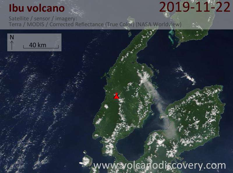 Satellite image of Ibu volcano on 22 Nov 2019