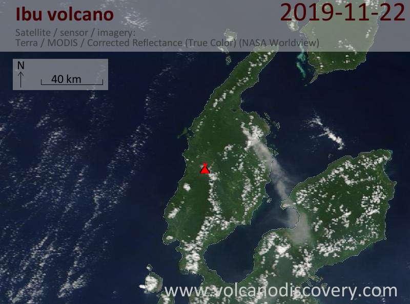 Спутниковое изображение вулкана Ibu 22 Nov 2019