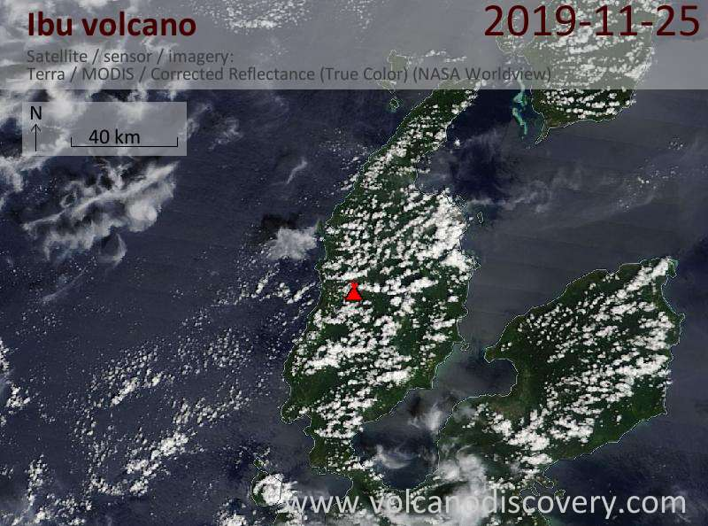 Satellite image of Ibu volcano on 25 Nov 2019