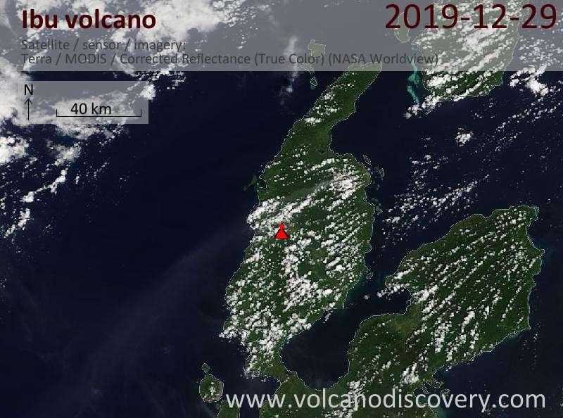 Спутниковое изображение вулкана Ibu 29 Dec 2019