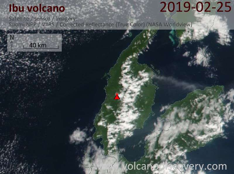 Satellite image of Ibu volcano on 25 Feb 2019