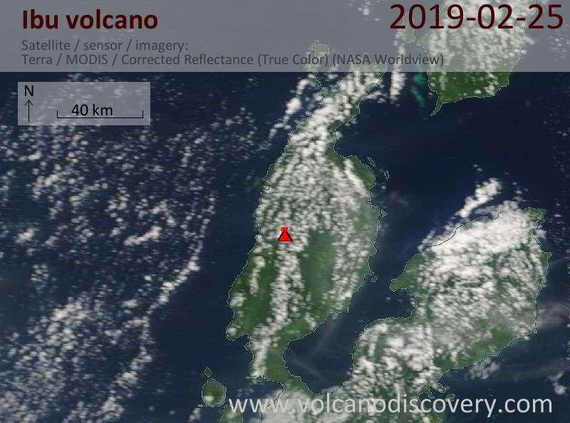 Satellite image of Ibu volcano on 26 Feb 2019
