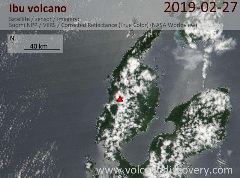 Satellite image of Ibu volcano on 27 Feb 2019