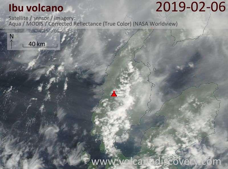 Satellite image of Ibu volcano on  6 Feb 2019