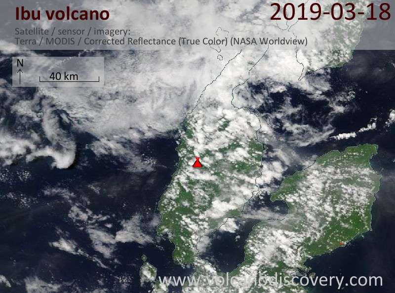 Satellite image of Ibu volcano on 18 Mar 2019