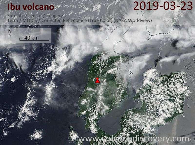 Satellite image of Ibu volcano on 23 Mar 2019