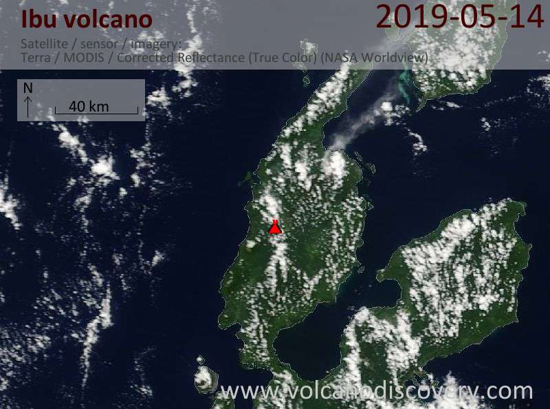 Satellite image of Ibu volcano on 14 May 2019