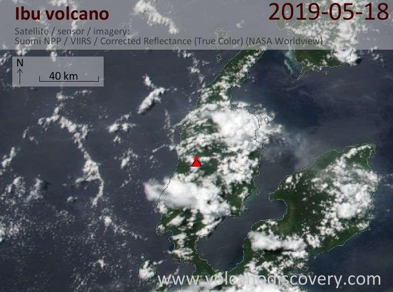 Satellitenbild des Ibu Vulkans am 18 May 2019
