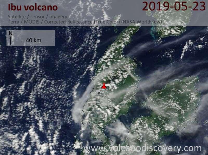 Satellite image of Ibu volcano on 23 May 2019