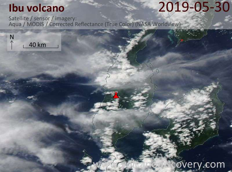 Satellite image of Ibu volcano on 30 May 2019