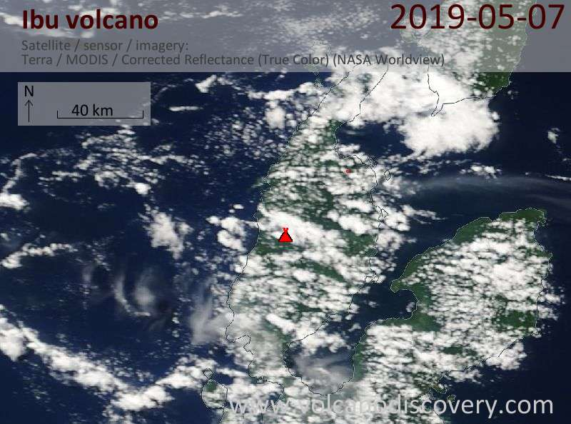 Satellite image of Ibu volcano on  7 May 2019
