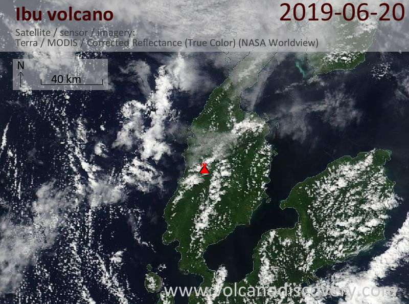 Satellitenbild des Ibu Vulkans am 20 Jun 2019