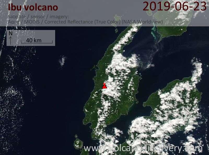 Satellitenbild des Ibu Vulkans am 23 Jun 2019