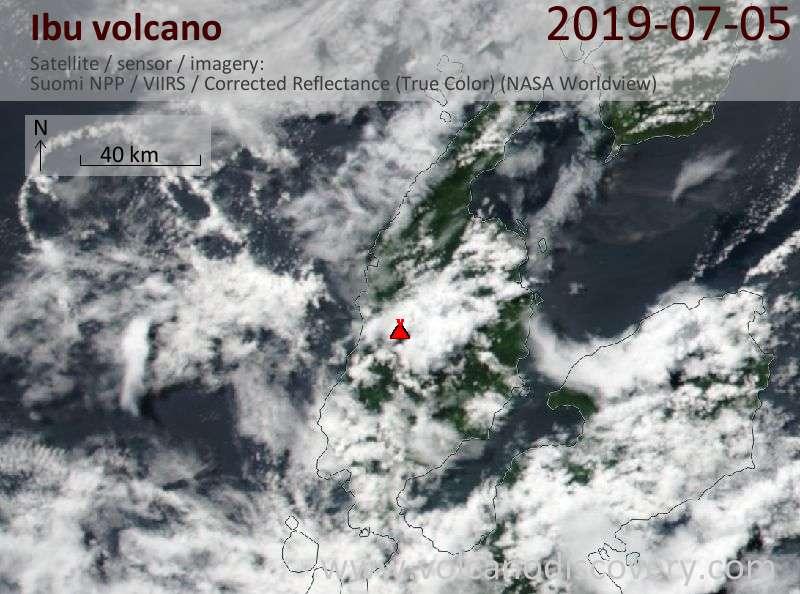 Satellite image of Ibu volcano on  5 Jul 2019