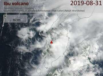 Satellite image of Ibu volcano on 31 Aug 2019