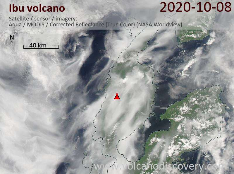 Satellite image of Ibu volcano on  8 Oct 2020