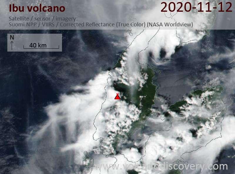 Satellite image of Ibu volcano on 12 Nov 2020